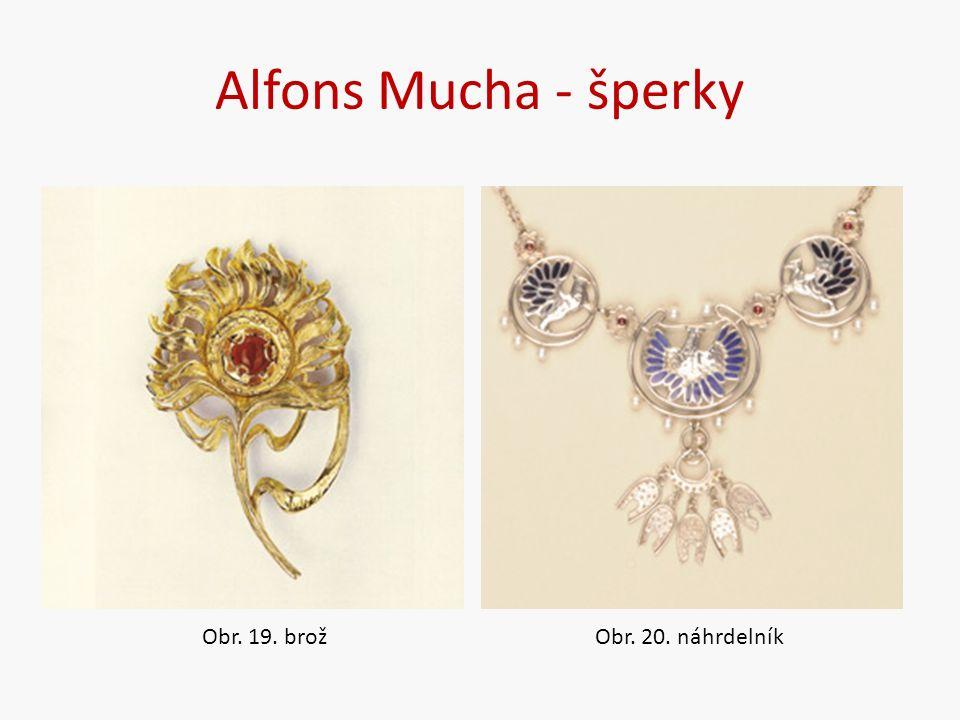 Alfons Mucha - šperky Obr. 19. brožObr. 20. náhrdelník