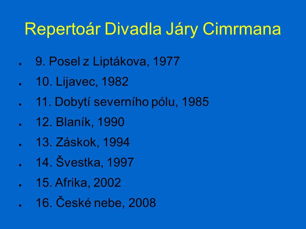 Repertoár Divadla Járy Cimrmana ● 9. Posel z Liptákova, 1977 ● 10.