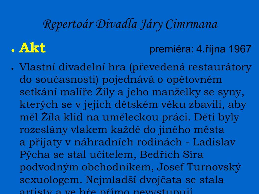 Repertoár Divadla Járy Cimrmana ● Akt premiéra:4.října 1967 ● Vlastní divadelní hra (převedená restaurátory do současnosti) pojednává o opětovném setkání malíře Žíly a jeho manželky se syny, kterých se v jejich dětském věku zbavili, aby měl Žíla klid na uměleckou práci.