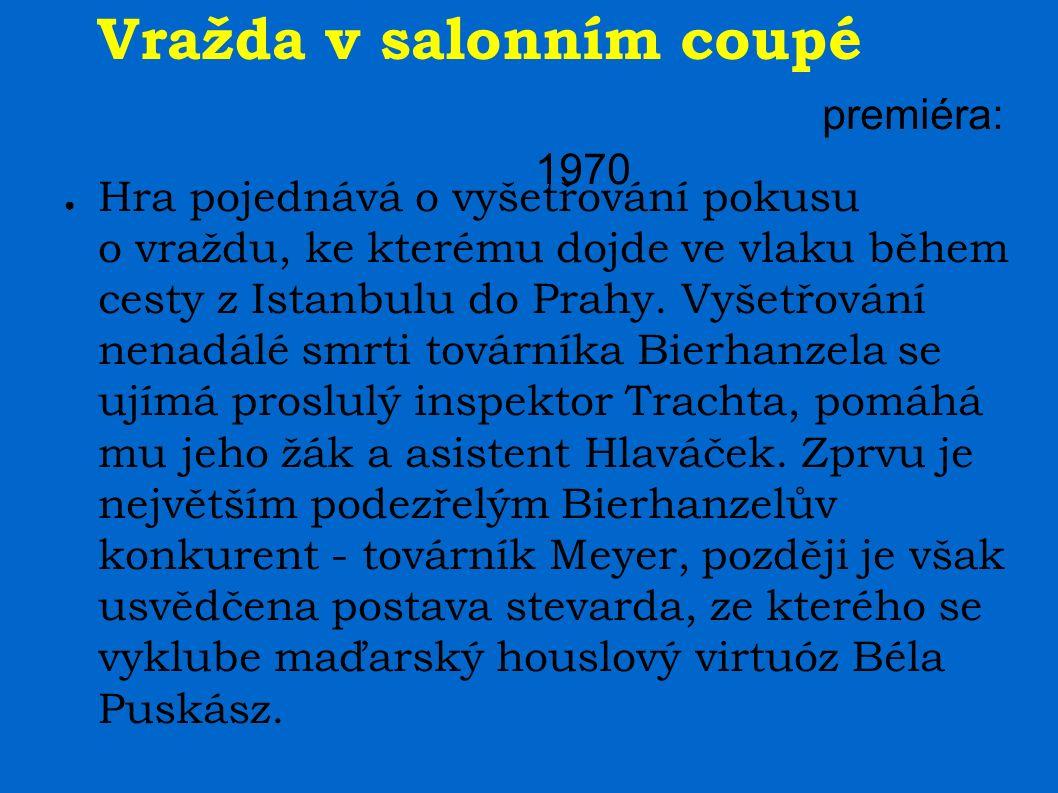 Vražda v salonním coupé premiéra: 1970 ● Hra pojednává o vyšetřování pokusu o vraždu, ke kterému dojde ve vlaku během cesty z Istanbulu do Prahy.