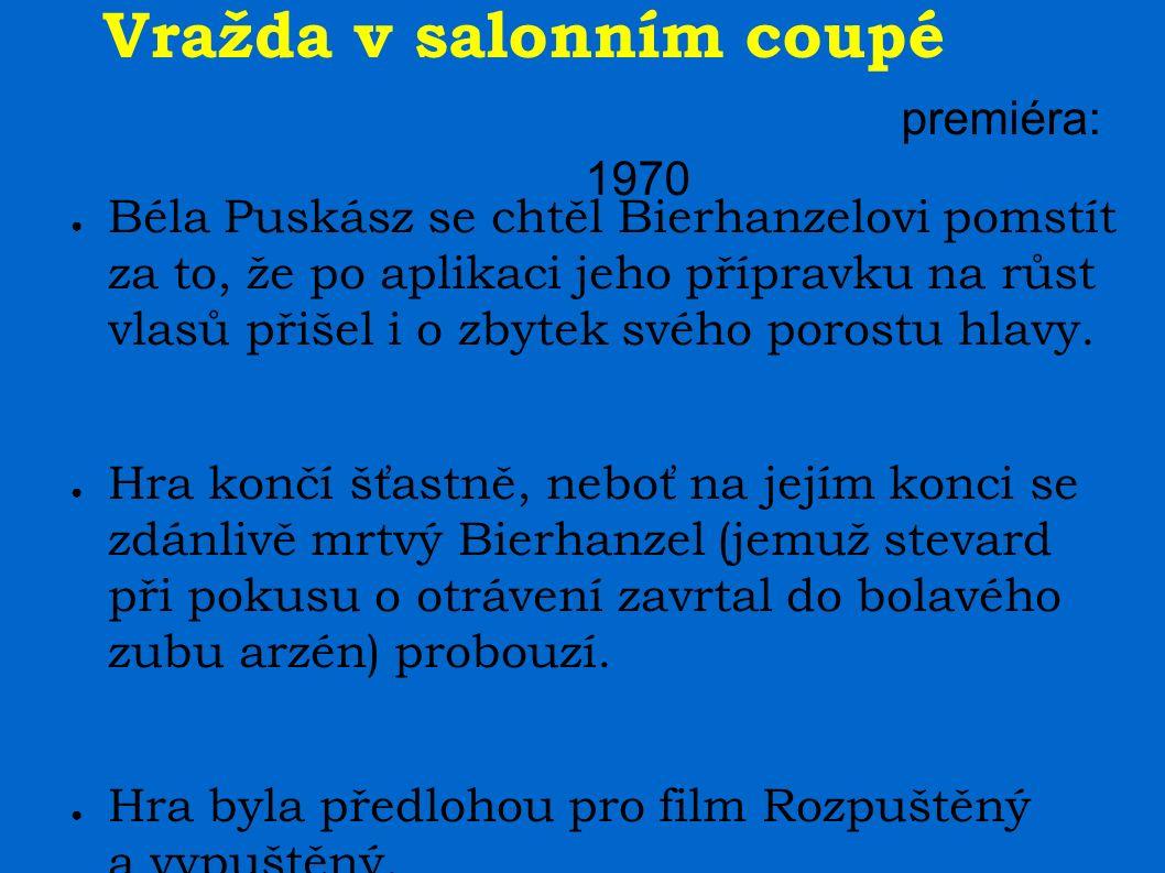 Vražda v salonním coupé premiéra: 1970 ● Béla Puskász se chtěl Bierhanzelovi pomstít za to, že po aplikaci jeho přípravku na růst vlasů přišel i o zby