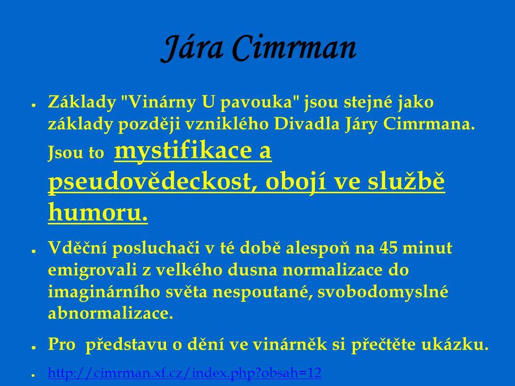Jára Cimrman ● Základy Vinárny U pavouka jsou stejné jako základy později vzniklého Divadla Járy Cimrmana.