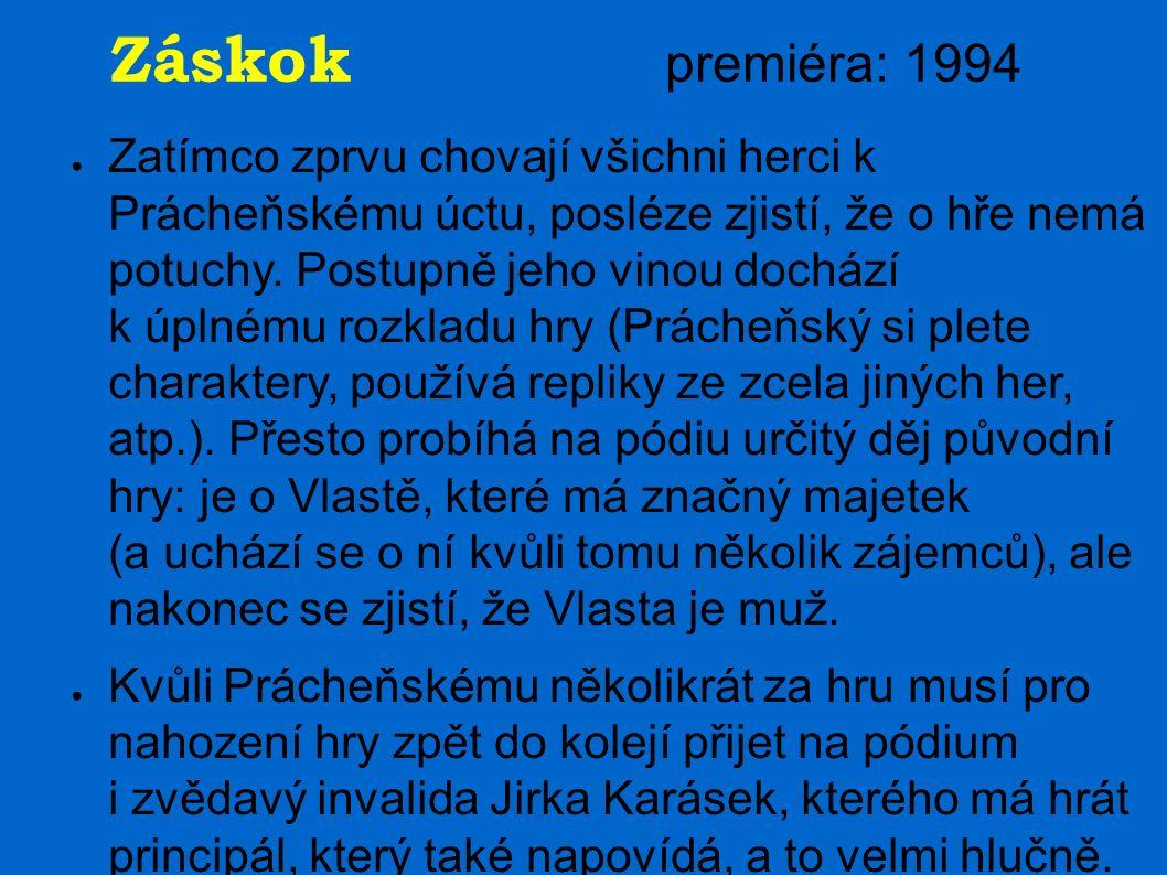 Záskok premiéra: 1994 ● Zatímco zprvu chovají všichni herci k Prácheňskému úctu, posléze zjistí, že o hře nemá potuchy. Postupně jeho vinou dochází k