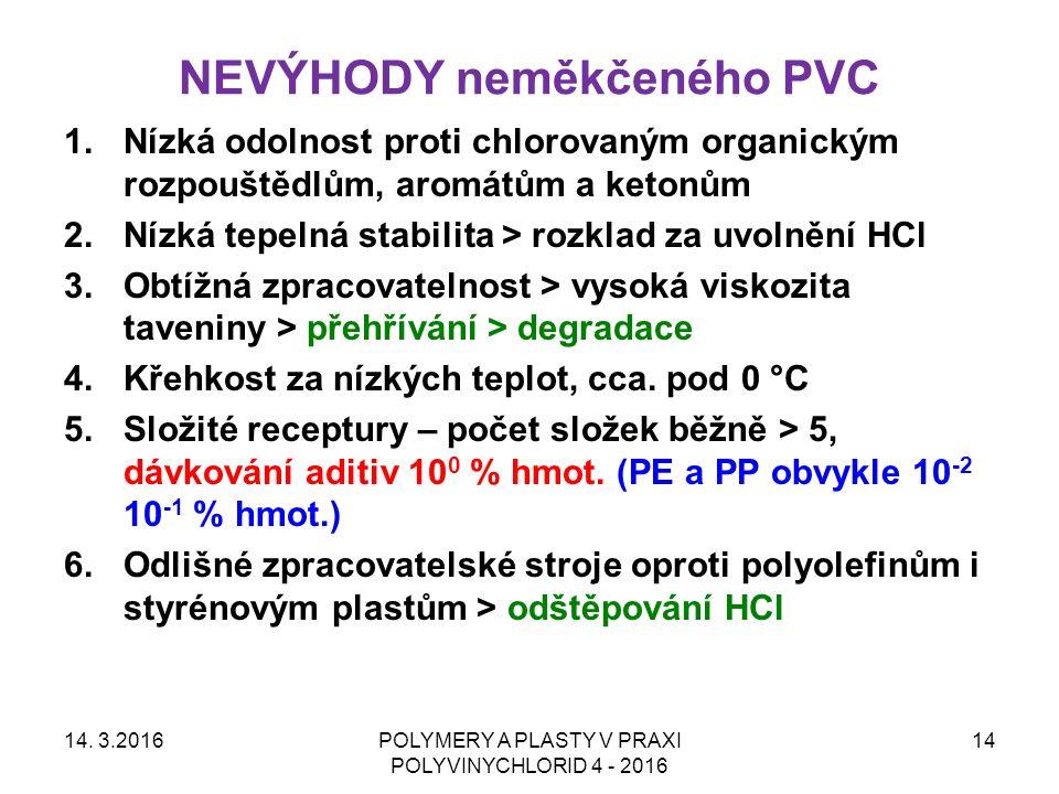 NEVÝHODY neměkčeného PVC 14. 3.2016POLYMERY A PLASTY V PRAXI POLYVINYCHLORID 4 - 2016 14 1.Nízká odolnost proti chlorovaným organickým rozpouštědlům,
