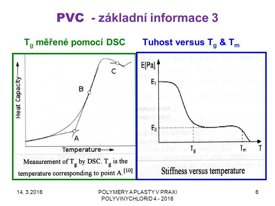 PVC - základní informace 3 14. 3.2016POLYMERY A PLASTY V PRAXI POLYVINYCHLORID 4 - 2016 6 Tuhost versus T g & T m T g měřené pomocí DSC