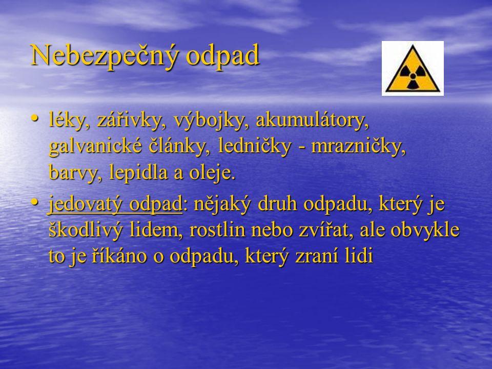 Nebezpečný odpad léky, zářivky, výbojky, akumulátory, galvanické články, ledničky - mrazničky, barvy, lepidla a oleje.
