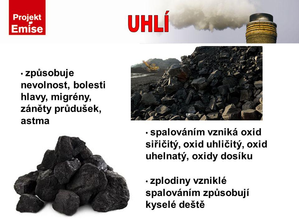 způsobuje nevolnost, bolesti hlavy, migrény, záněty průdušek, astma zplodiny vzniklé spalováním způsobují kyselé deště spalováním vzniká oxid siřičitý, oxid uhličitý, oxid uhelnatý, oxidy dosíku