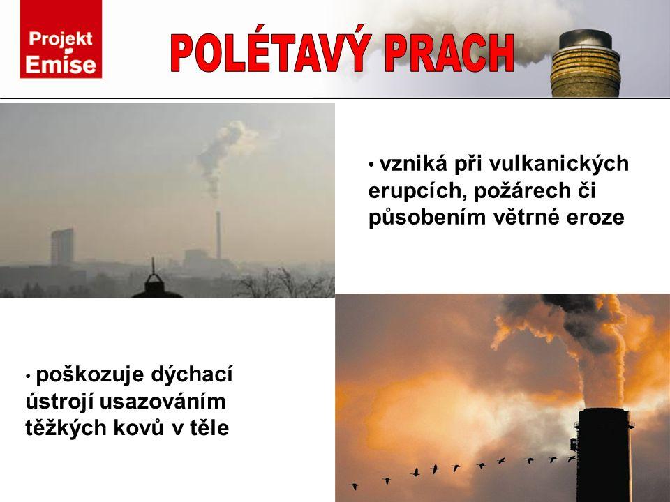 poškozuje dýchací ústrojí usazováním těžkých kovů v těle vzniká při vulkanických erupcích, požárech či působením větrné eroze