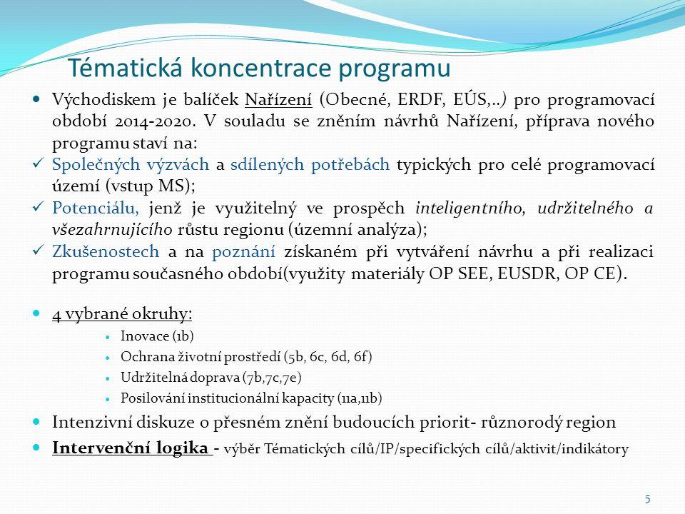 Tématická koncentrace programu Východiskem je balíček Nařízení (Obecné, ERDF, EÚS,..) pro programovací období 2014-2020.