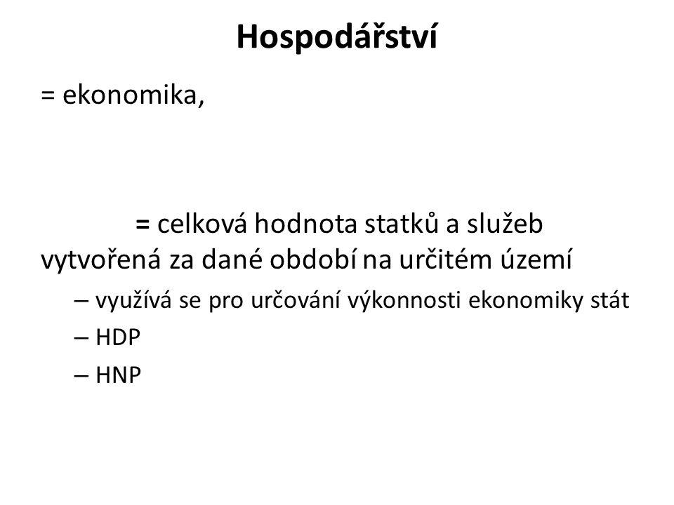 Hospodářství = ekonomika, = celková hodnota statků a služeb vytvořená za dané období na určitém území – využívá se pro určování výkonnosti ekonomiky stát – HDP – HNP