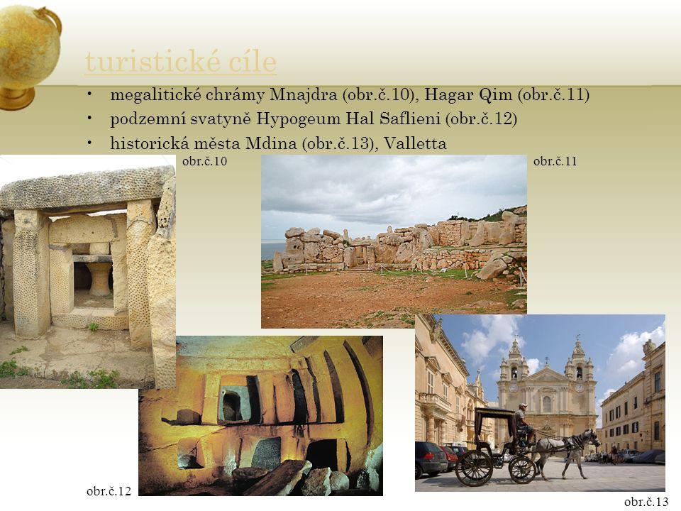 turistické cíle megalitické chrámy Mnajdra (obr.č.10), Hagar Qim (obr.č.11) podzemní svatyně Hypogeum Hal Saflieni (obr.č.12) historická města Mdina (obr.č.13), Valletta obr.č.10obr.č.11 obr.č.12 obr.č.13