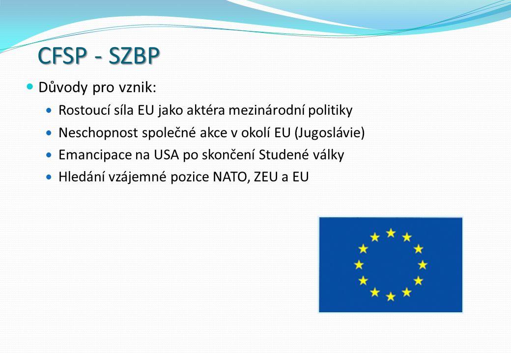 CFSP - SZBP Důvody pro vznik: Rostoucí síla EU jako aktéra mezinárodní politiky Neschopnost společné akce v okolí EU (Jugoslávie) Emancipace na USA po skončení Studené války Hledání vzájemné pozice NATO, ZEU a EU