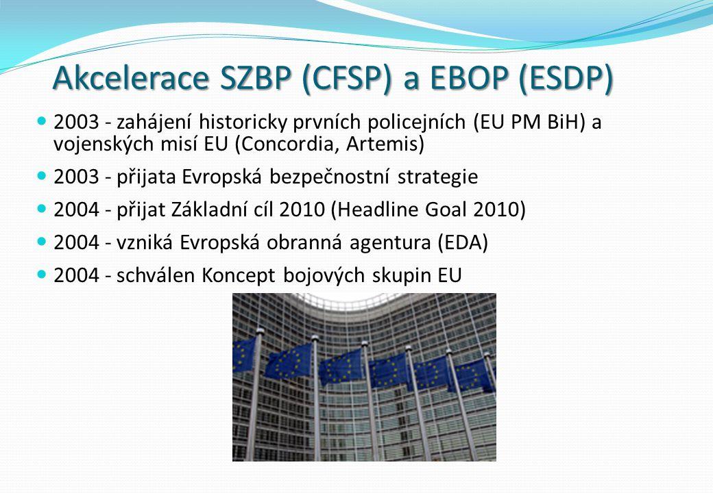 Akcelerace SZBP (CFSP) a EBOP (ESDP) 2003 - zahájení historicky prvních policejních (EU PM BiH) a vojenských misí EU (Concordia, Artemis) 2003 - přijata Evropská bezpečnostní strategie 2004 - přijat Základní cíl 2010 (Headline Goal 2010) 2004 - vzniká Evropská obranná agentura (EDA) 2004 - schválen Koncept bojových skupin EU