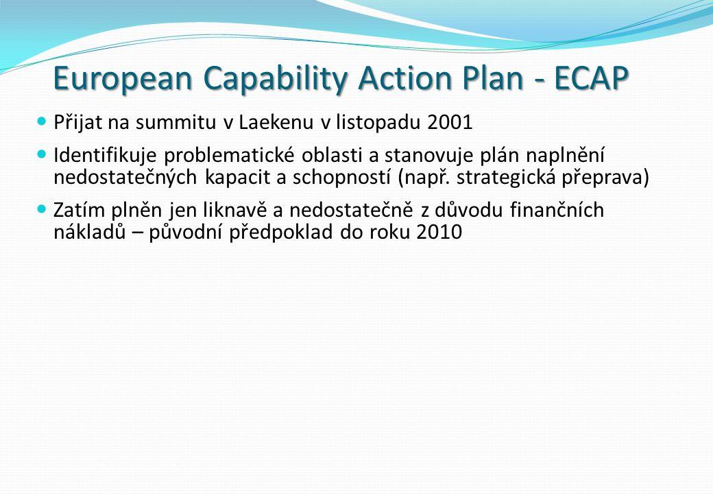 European Capability Action Plan - ECAP Přijat na summitu v Laekenu v listopadu 2001 Identifikuje problematické oblasti a stanovuje plán naplnění nedostatečných kapacit a schopností (např.