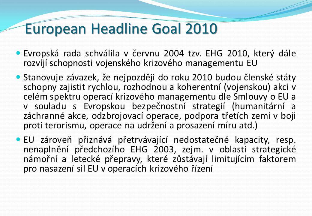 European Headline Goal 2010 Evropská rada schválila v červnu 2004 tzv.