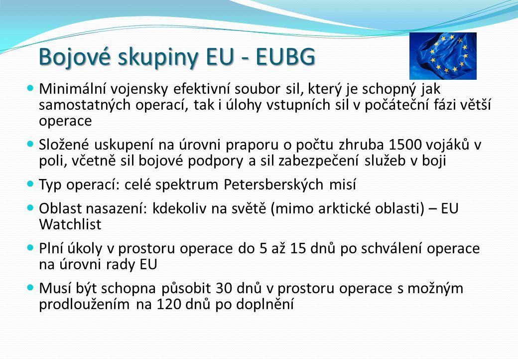 Bojové skupiny EU - EUBG Minimální vojensky efektivní soubor sil, který je schopný jak samostatných operací, tak i úlohy vstupních sil v počáteční fázi větší operace Složené uskupení na úrovni praporu o počtu zhruba 1500 vojáků v poli, včetně sil bojové podpory a sil zabezpečení služeb v boji Typ operací: celé spektrum Petersberských misí Oblast nasazení: kdekoliv na světě (mimo arktické oblasti) – EU Watchlist Plní úkoly v prostoru operace do 5 až 15 dnů po schválení operace na úrovni rady EU Musí být schopna působit 30 dnů v prostoru operace s možným prodloužením na 120 dnů po doplnění