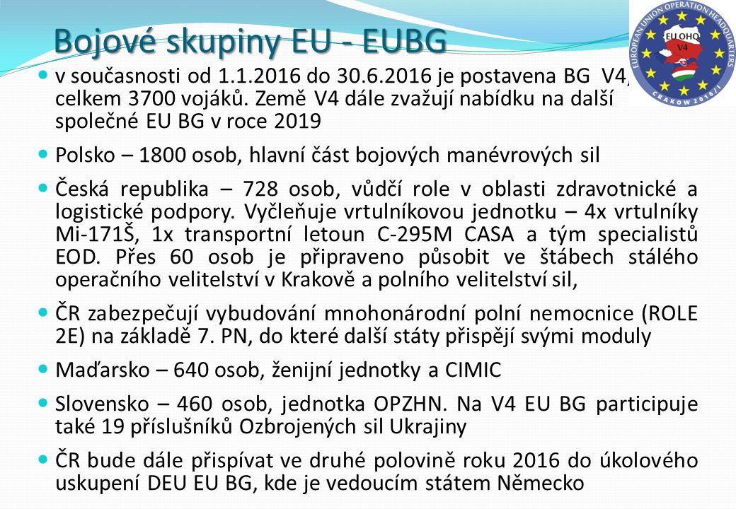 Bojové skupiny EU - EUBG v současnosti od 1.1.2016 do 30.6.2016 je postavena BG V4, celkem 3700 vojáků. Země V4 dále zvažují nabídku na další společné