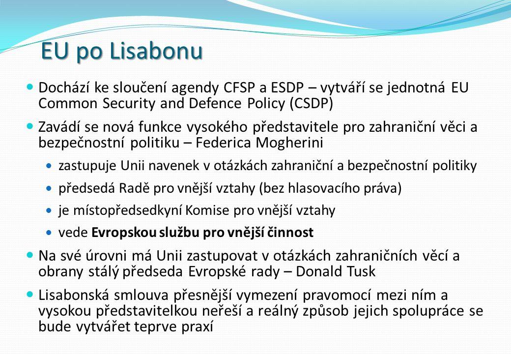EU po Lisabonu Dochází ke sloučení agendy CFSP a ESDP – vytváří se jednotná EU Common Security and Defence Policy (CSDP) Zavádí se nová funkce vysokého představitele pro zahraniční věci a bezpečnostní politiku – Federica Mogherini zastupuje Unii navenek v otázkách zahraniční a bezpečnostní politiky předsedá Radě pro vnější vztahy (bez hlasovacího práva) je místopředsedkyní Komise pro vnější vztahy vede Evropskou službu pro vnější činnost Na své úrovni má Unii zastupovat v otázkách zahraničních věcí a obrany stálý předseda Evropské rady – Donald Tusk Lisabonská smlouva přesnější vymezení pravomocí mezi ním a vysokou představitelkou neřeší a reálný způsob jejich spolupráce se bude vytvářet teprve praxí