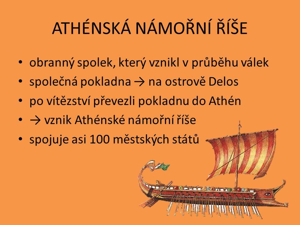 ATHÉNSKÁ NÁMOŘNÍ ŘÍŠE obranný spolek, který vznikl v průběhu válek společná pokladna → na ostrově Delos po vítězství převezli pokladnu do Athén → vzni