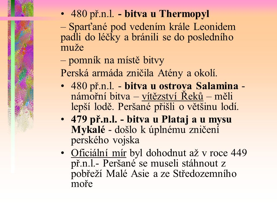 Postup Peršanů k Thermopylám a Salamíně