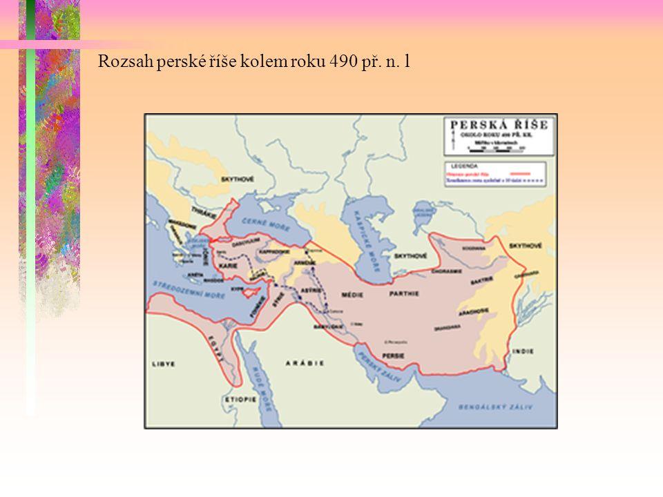 Rozsah perské říše kolem roku 490 př. n. l