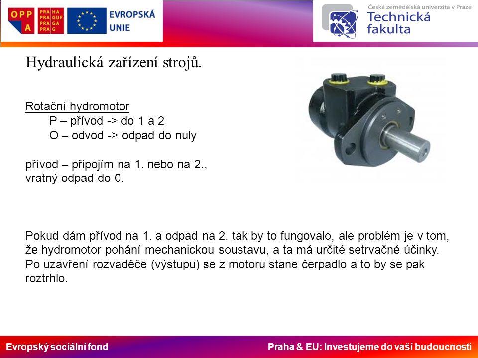 Evropský sociální fond Praha & EU: Investujeme do vaší budoucnosti Rotační hydromotor P – přívod -> do 1 a 2 O – odvod -> odpad do nuly přívod – připojím na 1.