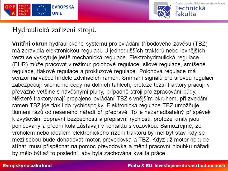 Evropský sociální fond Praha & EU: Investujeme do vaší budoucnosti Vnitřní okruh hydraulického systému pro ovládání tříbodového závěsu (TBZ) má zpravidla elektronickou regulaci.