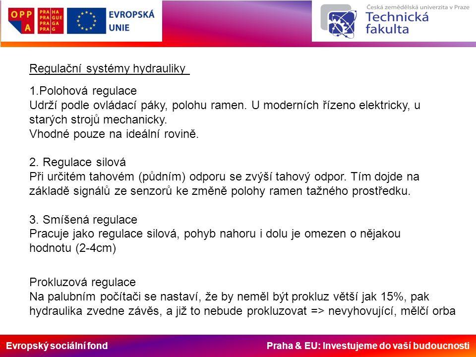 Regulační systémy hydrauliky 1.Polohová regulace Udrží podle ovládací páky, polohu ramen.