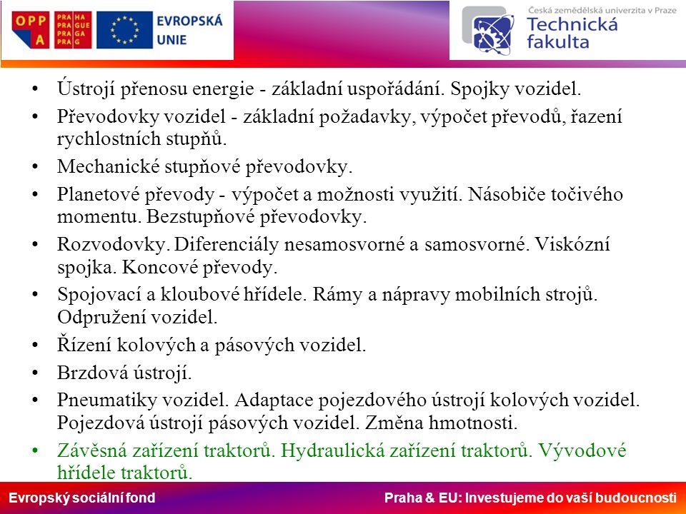 Evropský sociální fond Praha & EU: Investujeme do vaší budoucnosti Závěsná zařízení strojů.