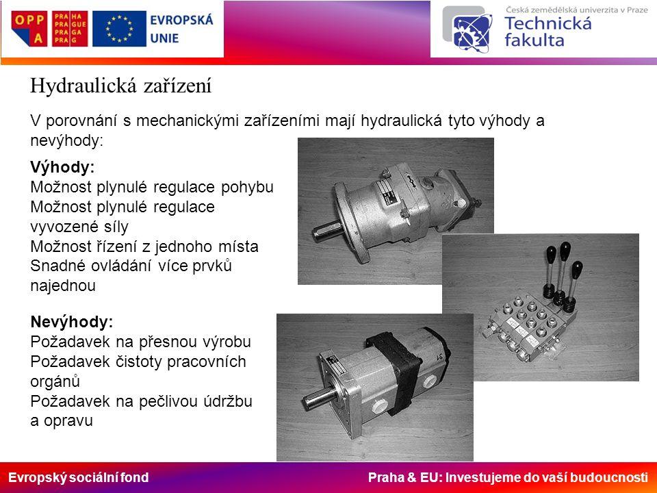 Evropský sociální fond Praha & EU: Investujeme do vaší budoucnosti Hydraulická zařízení V porovnání s mechanickými zařízeními mají hydraulická tyto výhody a nevýhody: Výhody: Možnost plynulé regulace pohybu Možnost plynulé regulace vyvozené síly Možnost řízení z jednoho místa Snadné ovládání více prvků najednou Nevýhody: Požadavek na přesnou výrobu Požadavek čistoty pracovních orgánů Požadavek na pečlivou údržbu a opravu