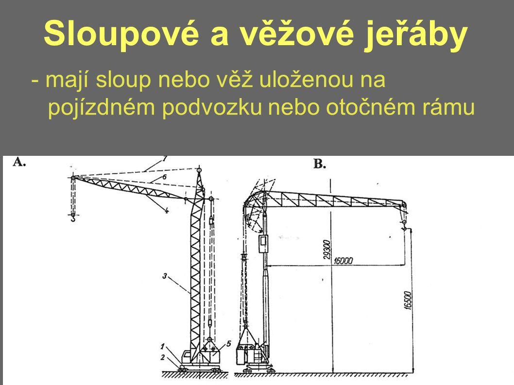 Sloupové a věžové jeřáby - mají sloup nebo věž uloženou na pojízdném podvozku nebo otočném rámu