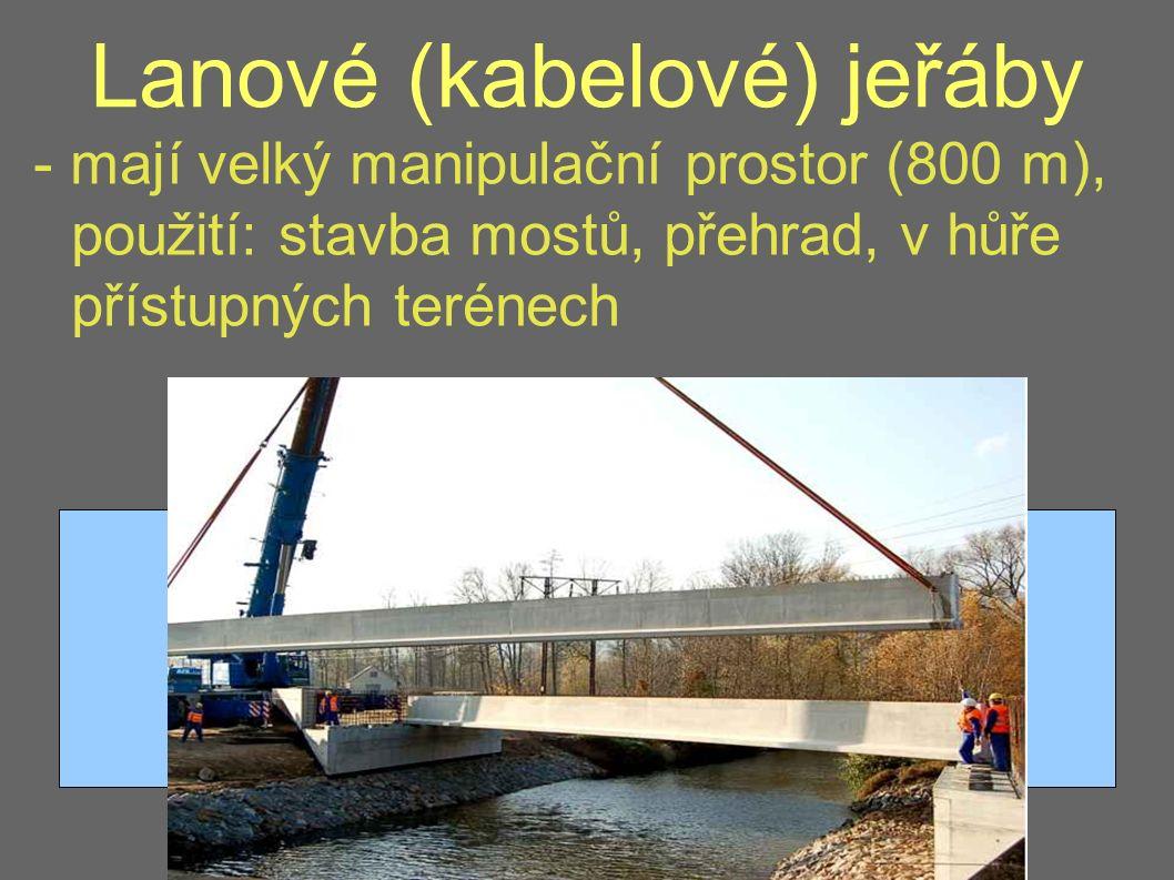 Lanové (kabelové) jeřáby - mají velký manipulační prostor (800 m), použití: stavba mostů, přehrad, v hůře přístupných terénech
