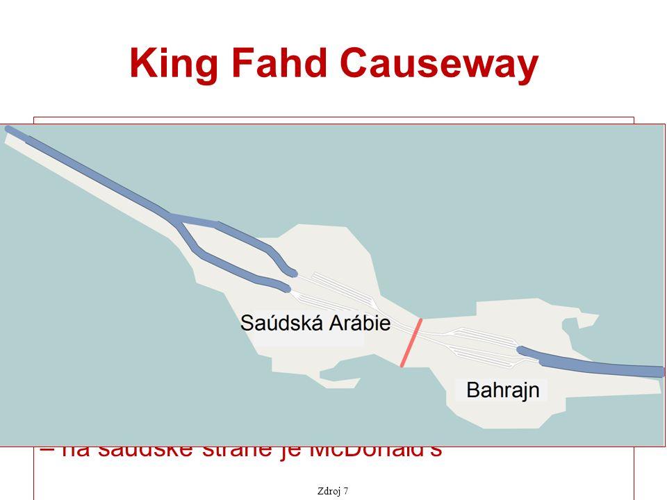 King Fahd Causeway mostní propojení pro automobilovou dopravu mezi Saúdskou Arábií a Bahrajnem otevřeno v r.