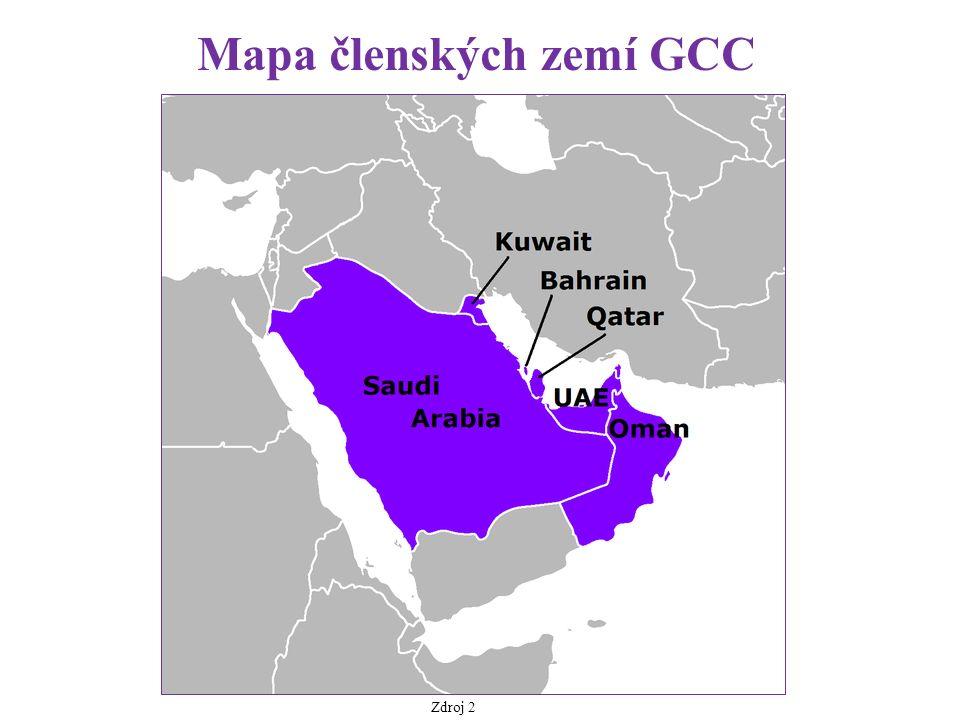 Mapa členských zemí GCC Zdroj 2
