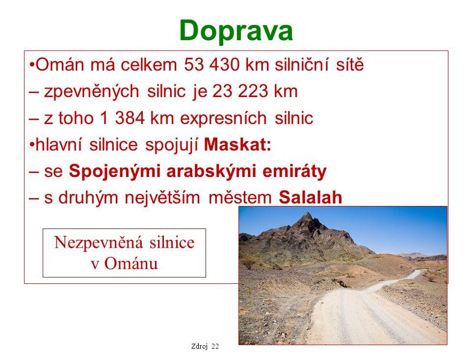 Doprava Omán má celkem 53 430 km silniční sítě – zpevněných silnic je 23 223 km – z toho 1 384 km expresních silnic hlavní silnice spojují Maskat: – se Spojenými arabskými emiráty – s druhým největším městem Salalah Nezpevněná silnice v Ománu Zdroj 22