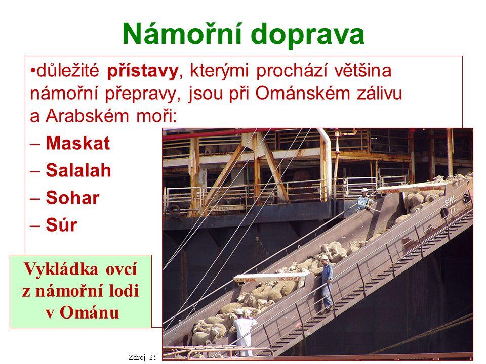 Námořní doprava důležité přístavy, kterými prochází většina námořní přepravy, jsou při Ománském zálivu a Arabském moři: – Maskat – Salalah – Sohar – Súr Vykládka ovcí z námořní lodi v Ománu Zdroj 25