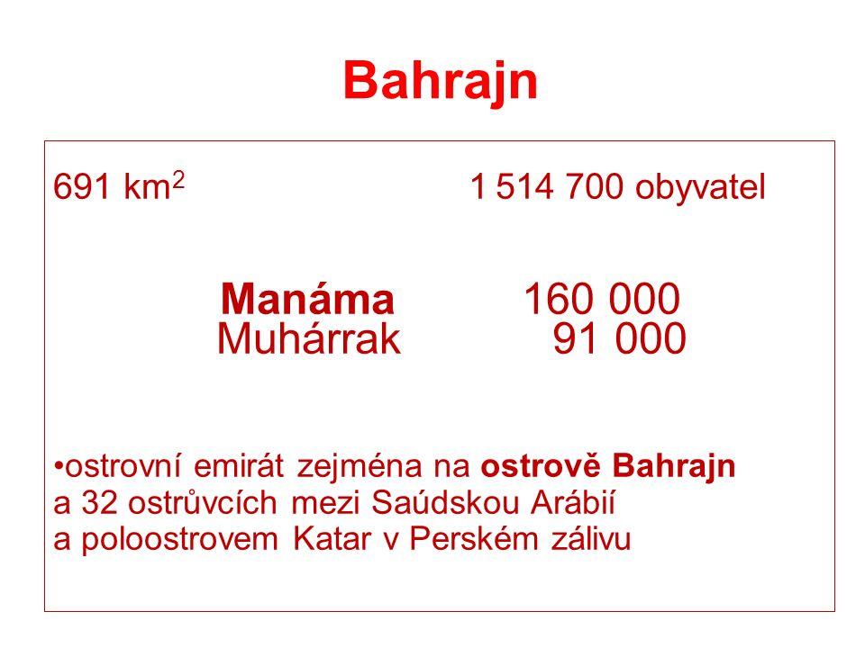 Bahrajn 691 km 2 1 514 700 obyvatel Manáma 160 000 Muhárrak 91 000 ostrovní emirát zejména na ostrově Bahrajn a 32 ostrůvcích mezi Saúdskou Arábií a poloostrovem Katar v Perském zálivu