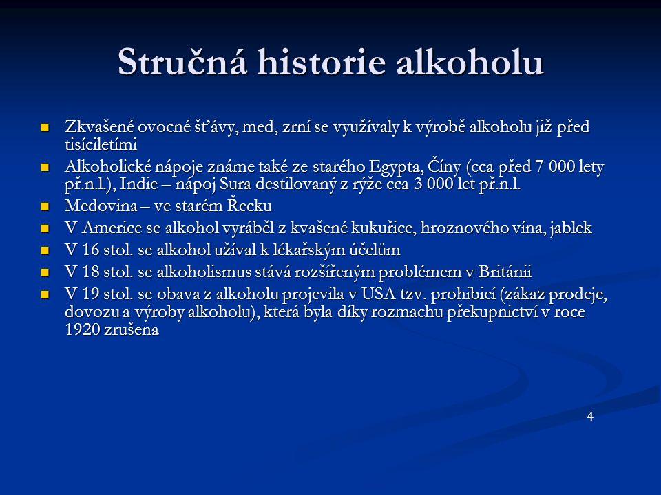 Stručná historie alkoholu Zkvašené ovocné šťávy, med, zrní se využívaly k výrobě alkoholu již před tisíciletími Zkvašené ovocné šťávy, med, zrní se využívaly k výrobě alkoholu již před tisíciletími Alkoholické nápoje známe také ze starého Egypta, Číny (cca před 7 000 lety př.n.l.), Indie – nápoj Sura destilovaný z rýže cca 3 000 let př.n.l.