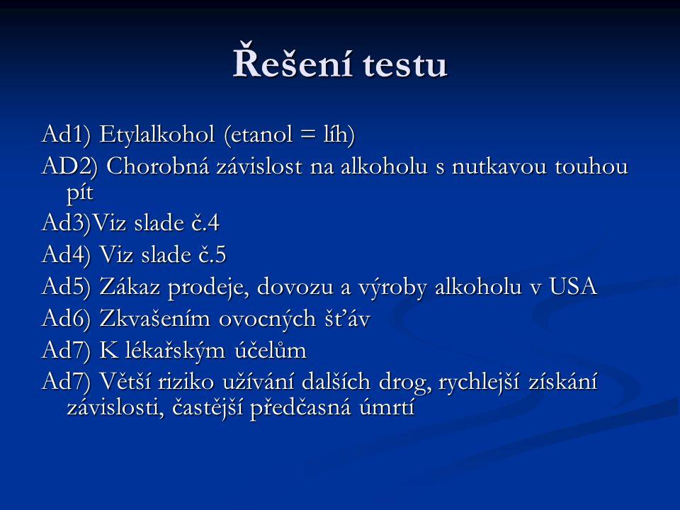 Řešení testu Ad1) Etylalkohol (etanol = líh) AD2) Chorobná závislost na alkoholu s nutkavou touhou pít Ad3)Viz slade č.4 Ad4) Viz slade č.5 Ad5) Zákaz prodeje, dovozu a výroby alkoholu v USA Ad6) Zkvašením ovocných šťáv Ad7) K lékařským účelům Ad7) Větší riziko užívání dalších drog, rychlejší získání závislosti, častější předčasná úmrtí