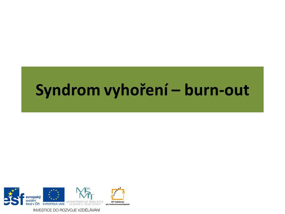 Syndrom vyhoření soubor typických příznaků vznikajících u pracovníků pomáhajících profesí v důsledku nezvládnutého chronického pracovního stresu.