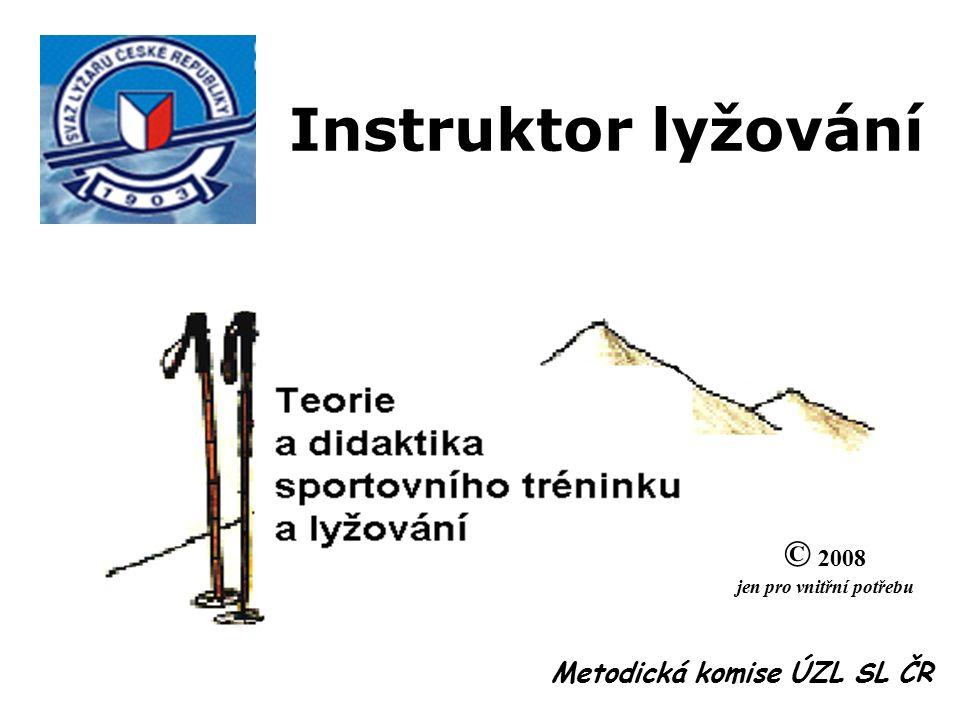 Sportovní trénink Kondice - schopnosti Technika - dovednosti Lyžování Formy lyžování O B S A H Základní pojmy, tělesná zátěž, reakce - superkompenzace, adaptace - kumulativní efekt, hodnocení zátěže, cvičení dětí, žen a ve stáří Pohybové schopnosti - síla, rychlost, vytrvalost, koordinace, pohyblivost Didaktické pokyny, model motorického učení, závěry pro praxi Česká škola lyžování - komplexní pojetí, schéma a struktura výcviku Hlavní formy a organizační formy lyžování - výcvik, závody, turistika, závěry 1 hod.