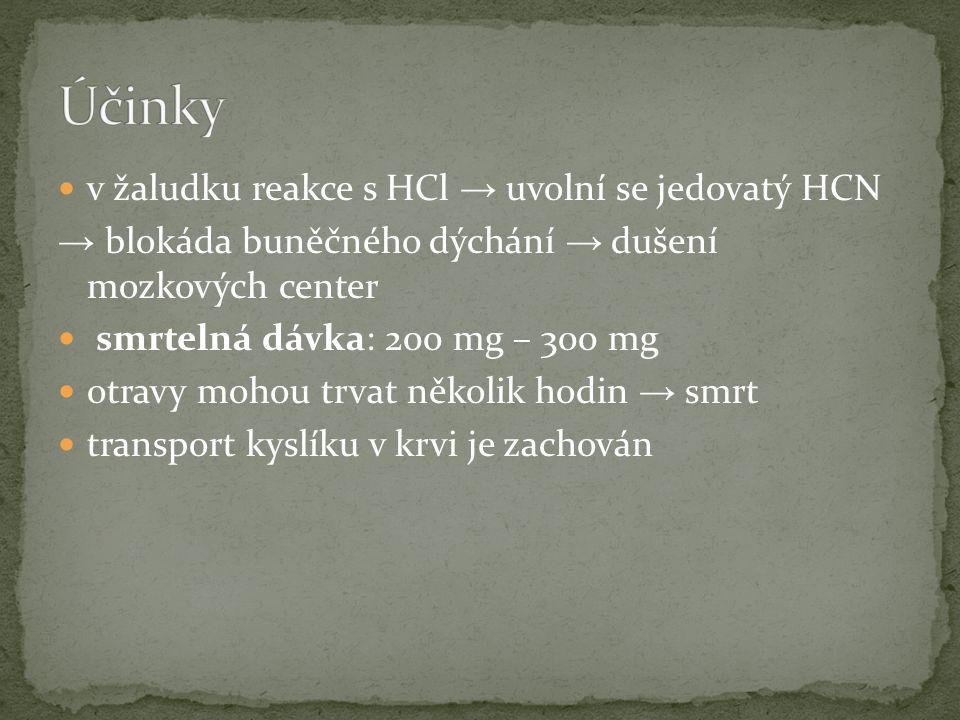 v žaludku reakce s HCl → uvolní se jedovatý HCN → blokáda buněčného dýchání → dušení mozkových center smrtelná dávka: 200 mg – 300 mg otravy mohou trv