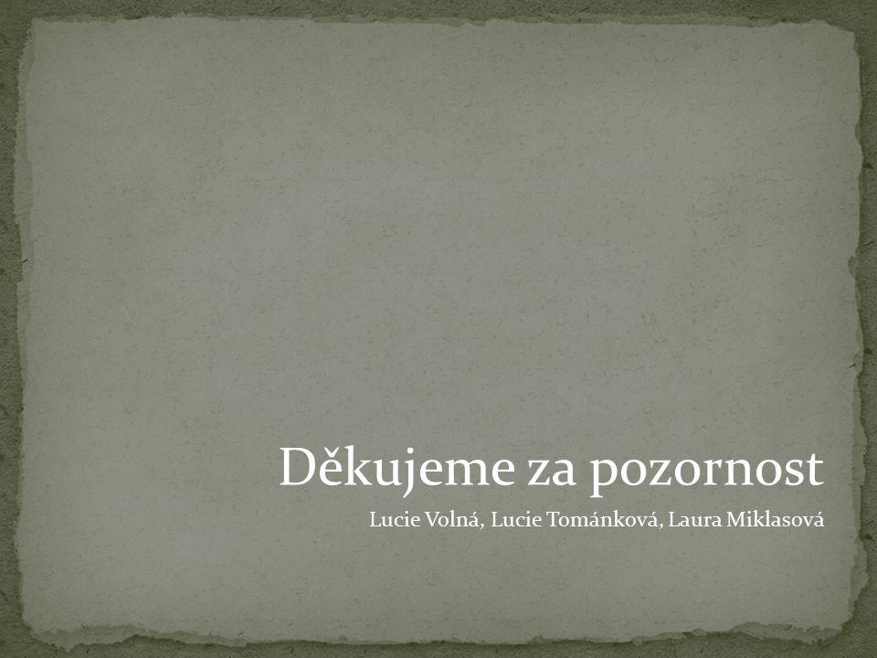 Děkujeme za pozornost Lucie Volná, Lucie Tománková, Laura Miklasová