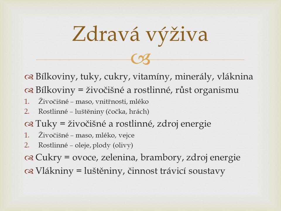   Bílkoviny, tuky, cukry, vitamíny, minerály, vláknina  Bílkoviny = živočišné a rostlinné, růst organismu 1.Živočišné – maso, vnitřnosti, mléko 2.Rostlinné – luštěniny (čočka, hrách)  Tuky = živočišné a rostlinné, zdroj energie 1.Živočišné – maso, mléko, vejce 2.Rostlinné – oleje, plody (olivy)  Cukry = ovoce, zelenina, brambory, zdroj energie  Vlákniny = luštěniny, činnost trávicí soustavy Zdravá výživa