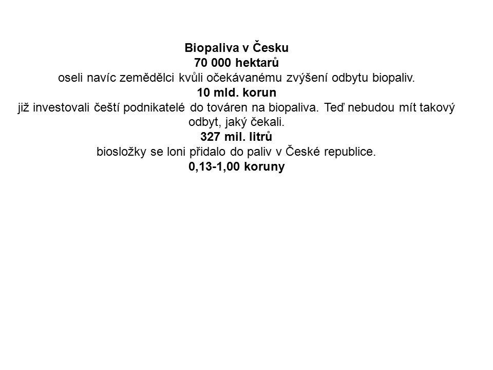 Biopaliva v Česku 70 000 hektarů oseli navíc zemědělci kvůli očekávanému zvýšení odbytu biopaliv.