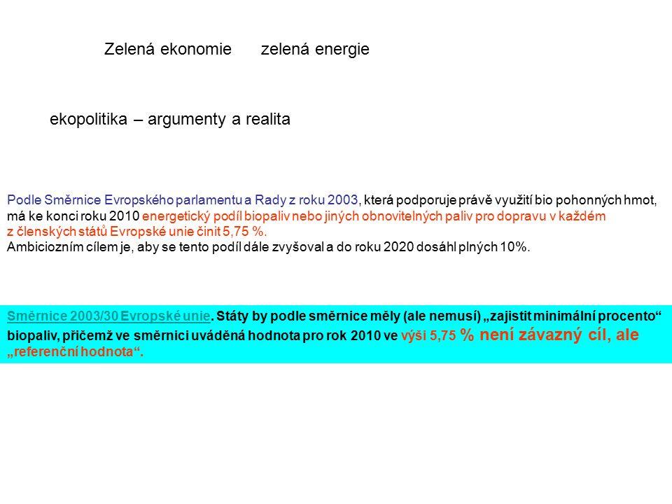 Zelená ekonomie zelená energie ekopolitika – argumenty a realita Směrnice 2003/30 Evropské unieSměrnice 2003/30 Evropské unie.