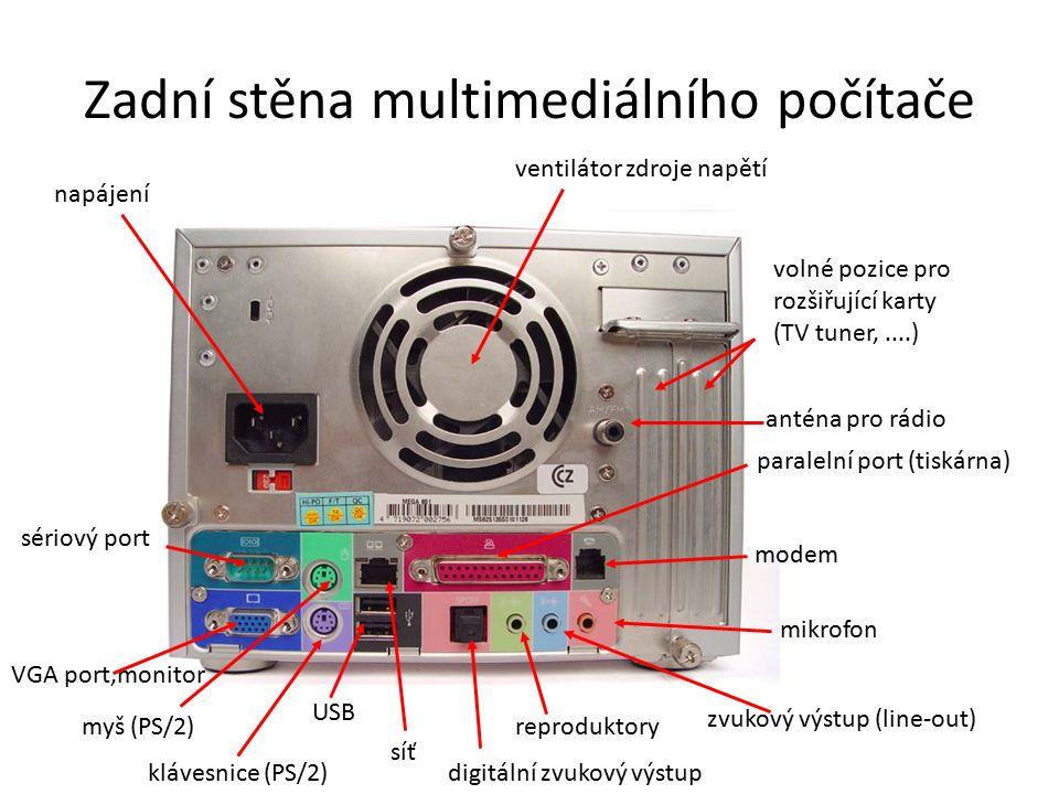 Zadní stěna multimediálního počítače napájení ventilátor zdroje napětí klávesnice (PS/2) myš (PS/2) paralelní port (tiskárna) sériový port VGA port,monitor USB síť digitální zvukový výstup reproduktory zvukový výstup (line-out) mikrofon modem anténa pro rádio volné pozice pro rozšiřující karty (TV tuner,....)