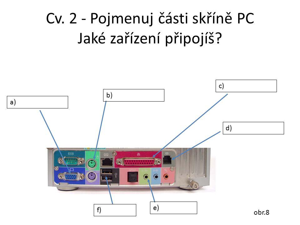 Cv. 2 - Pojmenuj části skříně PC Jaké zařízení připojíš? a) b) f) c) d) e) obr.8