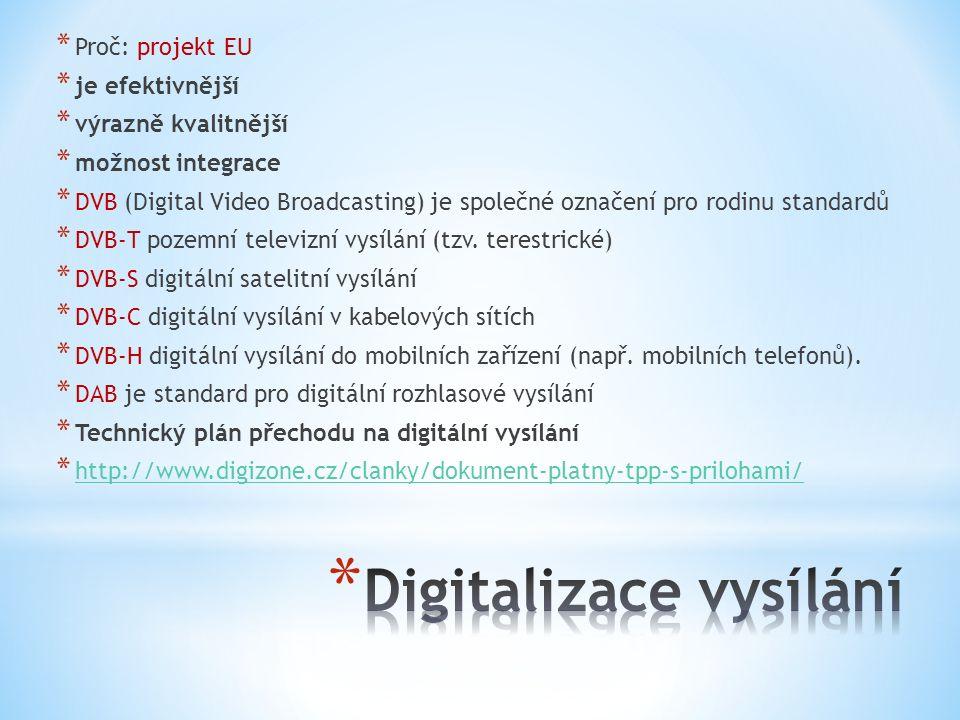 * Proč: projekt EU * je efektivnější * výrazně kvalitnější * možnost integrace * DVB (Digital Video Broadcasting) je společné označení pro rodinu standardů * DVB-T pozemní televizní vysílání (tzv.