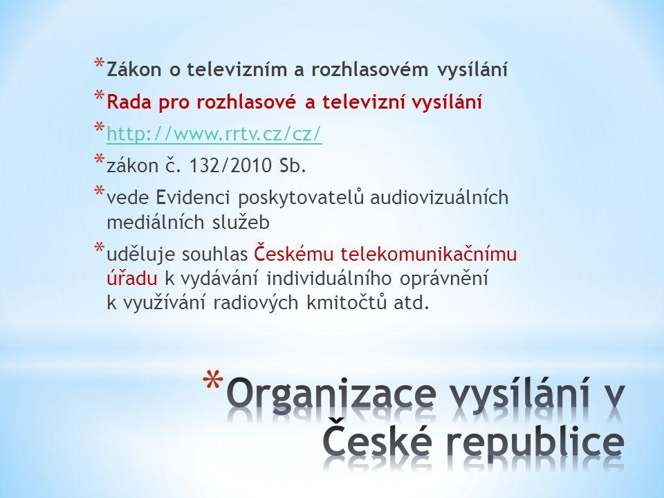 * Zákon o televizním a rozhlasovém vysílání * Rada pro rozhlasové a televizní vysílání * http://www.rrtv.cz/cz/ http://www.rrtv.cz/cz/ * zákon č. 132/